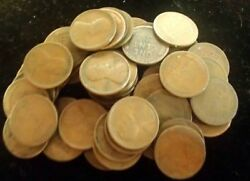 1916-s Lincoln Wheat Cent Penny Roll 50 Coins Average Circ All Readable Dates