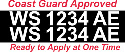 White Boat Registration Numbers Decals Custom Vinyl Coast Guard Approved 3 Pair