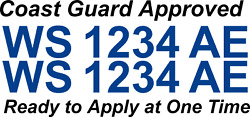 Blue Boat Registration Numbers Decals Custom Vinyl Coast Guard Approved 3 Pair