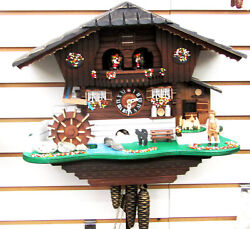 Lotscher 1 Day Musical Cuckoo Clock- Cat And Mouse, Swiss Made 998 M
