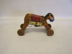 Vintage Wood Wind Up Donkey Pull Toy Early Japan Working Pat No 120377 Fs