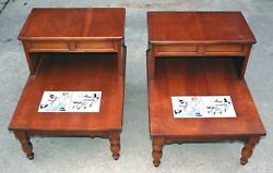 No Shipping 2 Lane Rustic Ranch Country End Tables Western Style Inlays Great