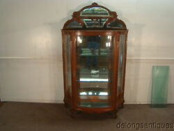 53008beautiful Golden Quartersawn Oak French Victorian 1800and039s China Cabinet