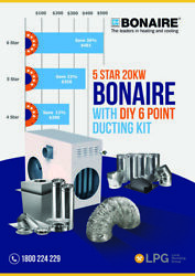 Bonaire 5 Star Ducted Heater including 6 Point Install Ducting Kit