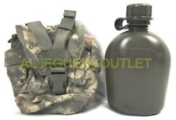 Us Military Molle 1qt Utility General Purpose Pouch Acu Used Cover + New Canteen