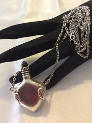 Vintage Mexican Sterling Silver Perfume Bottle Vessel Pendant/necklace,signed