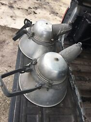 Pair Vintage Matching Industrial Cool Rare Old Lights Revere Electric Steampunk
