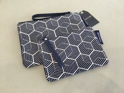 New Nordstrom SUNNYLIFE Beach Pouch Set Of 2 Blue White $50.00