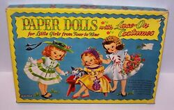 Paper Dolls With Lace-on Costumes For Little Girls Saalfield 1955 Vintage