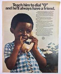 Vintage Original Print Ad 1970and039s Atandt Bell Dial 0 For Help 10.25 X 13 Pa-850
