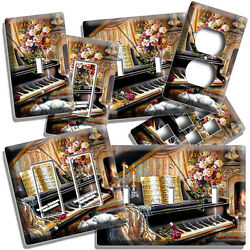 Grand Piano Keys Beethoven Flowers Light Switch Outlet Plate Music Studio Decor