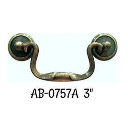 3 Antiqued Brass Drawer Pull Queen Anne Drawer Pull Antique Style Vintage Old