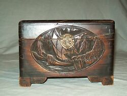 Early High Relief Carved Wooden Chinese Camphor Chest Box .lotus Flower Brass