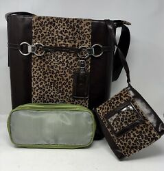WB Women In Business Dark Brown Cheetah Print Purse w Two Additional Small Bags $39.00