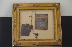 Fabulous Persian Pouches In Paisley And Silk W/ Gilt Antique Frame Uu97
