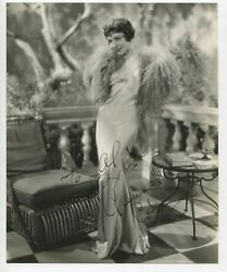 Claudette Colbert Signed 1932 Irving Lippman Photo W/stamp Sultry Portrait
