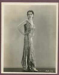 Fay Wray Elegant Flapper Girl Gown Roaring 1920s Linen Backed Glamour Photo J775