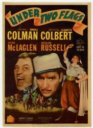 Under Two Flags 1936 Window Card Claudette Colbert High Grade Condition L18