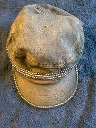 KOUTAKE Ball Cap Hat old denim look with metal looking cones attached.