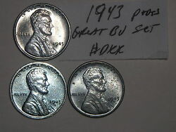 Wheat Penny 1943,1943-d,1943-s Wartime Lincoln Steel Cent Original Bu Set
