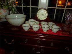 Anchor Hocking Milk Glass Ivory 22 Kt Gold Trim Sandwich Punch Bowl And Cups