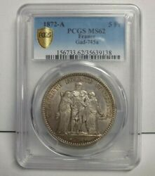 1872a 5 Francs 5 Fr France Hercules Five Franc Ms 62 Pcgs French Certified Coin