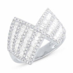 1.16ct 14k White Gold Channel Set Baguette Diamond Wide Cocktail Right Hand Ring