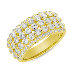 1.84 Ct 14k Yellow Gold Natural Round Cut Diamond Open Right Hand Cocktail Ring