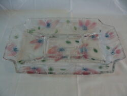 Crystal Tinted Large Rectangular 5 Part Divided Serving Platter Tray 15quot; $47.00