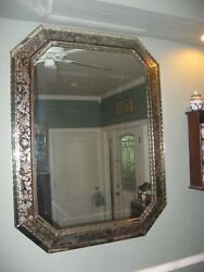 Antique French Églomisé Reverse Painted Large Mirror Crystal Framed 49 X 37