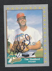 Autographed Tim Stoddard 1990 Pacific Senior League Card #182 Baltimore Orioles