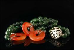 Vintage Chinese Symbol Spinach Jade Beads Carnelian Discs Silver Necklace 41