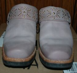 7.0 Worn Twice Frye Pink Distressed Belted Harness Mules Leather Upper