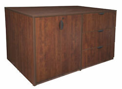 Latitude Run Linh Stand Up 2 Desk and Storage Cabinet and Lateral File Quad