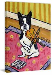 Latitude Run 'Boston Terrier Violin' Painting Print on Wrapped Canvas