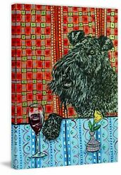 Latitude Run 'Kerry Blue Terrier Wine' Painting Print on Wrapped Canvas