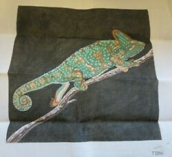 hand painted needlepoint canvas by Toni large chameleon on branch w thread