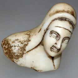 Extremely Rare Roman Marble Female Bust Ornament Statue Circa 100-300 Ad