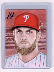 2019 ACEO Sketch Card BRYCE HARPER Philadelphia Phillies 1 1