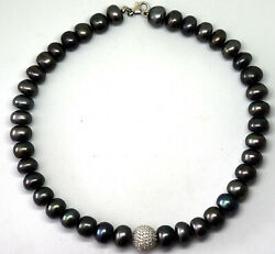 Exquisite Large Tahitian Pearl, Sterling Silver And Cz Necklace 16 Long