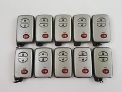 LOT OF 10 TOYOTA PRIUS 4RUNNER 09-17 OEM SMART KEY LESS ENTRY REMOTE FOB SILVER