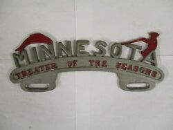 1950s Minnesota Theater Of Seasons Topper License Plate Tag