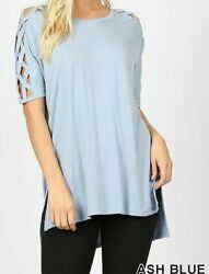 Criss Cross Shoulder Short Sleeve Top w Side Split amp; HiLo Hem Ash Blue by Zenana $17.99