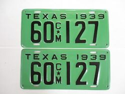 Brilliant Pair 1939 Texas Commercial License Plate Tag. Show Truck Ready