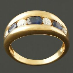 Solid 18k Gold 1.75 Ctw Sapphire And .42 Ctw Diamond Cigar Band Estate Ring