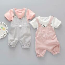 Girls summer outfits baby girls cotton Tee +rompers kids daily overall outfits