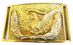 Civil Indian War Silver Wreath Eagle Officers Square Brass Belt Buckle 8x6cms