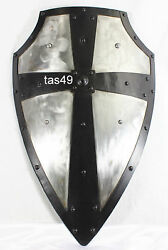 Medieval Shield Armor Knight Helmet Steel Sca Battle Larp Crusader Armour