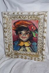 Vintage Signed M Dupont Paris - Girl Small Mid Century Painting Framed Art