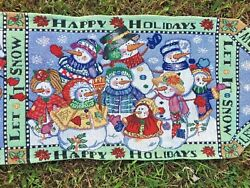 Vintage Tapestry Table Runner Cloth Cover SNOWMAN LET IT SNOW ▬ 70quot; long ❤️m17